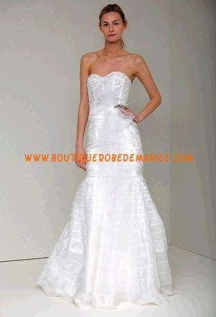 Robe de mariée sirène en organza sans bretelle