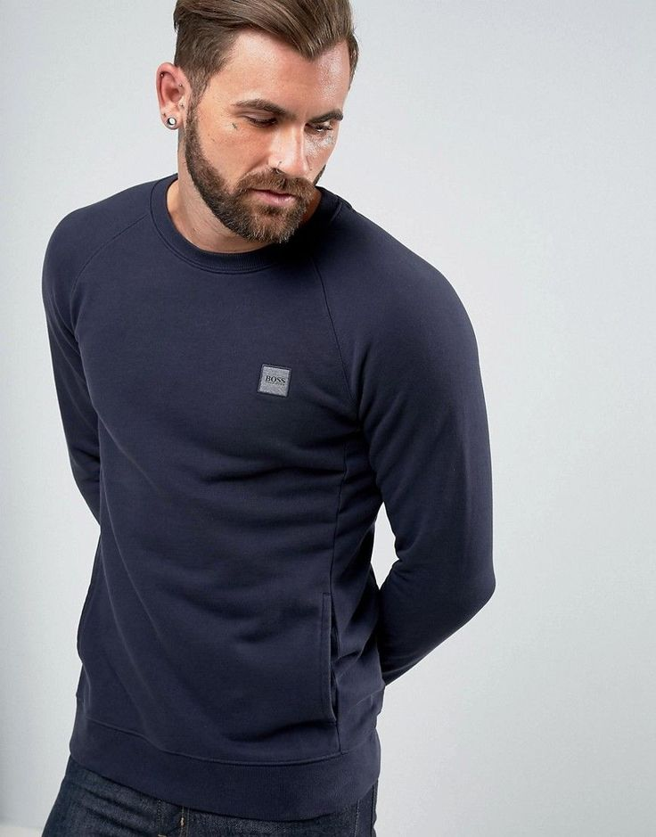 BOSS ORANGE BY HUGO BOSS WHEEL UK CREW NECK LOGO SWEAT NAVY - NAVY. #bossorange #cloth #