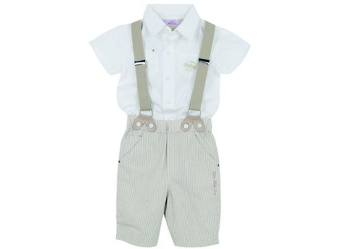 Tenue de cérémonie pour petit garçon - Tenue d'été : salopette et bretelles beiges, chemisette blanche - En lin et coton #mode #garcon #adolescent #enfant #mariage #religieuse #tenue #bapteme #hiver #ete #été