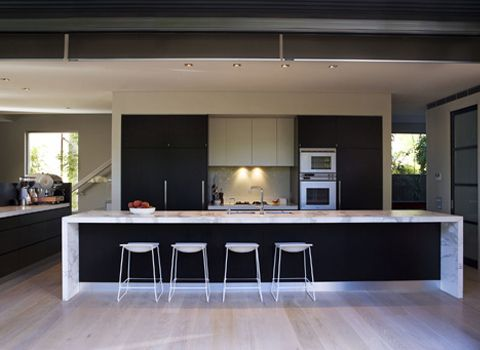 bench seating kitchen 36 inch table stunning waterfall island | ideas ...