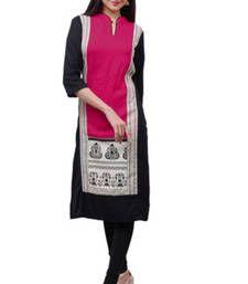 Buy black and rani cotton printed kurti kurtas-and-kurti online