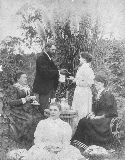 Afternoon tea party on a New South Wales station - Australia, 1890s