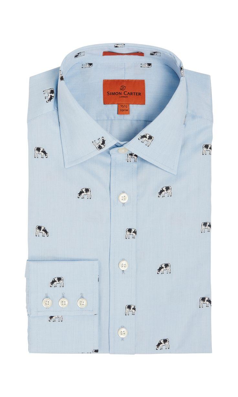 Blue Cow Jacquard Shirt. Simon Carter
