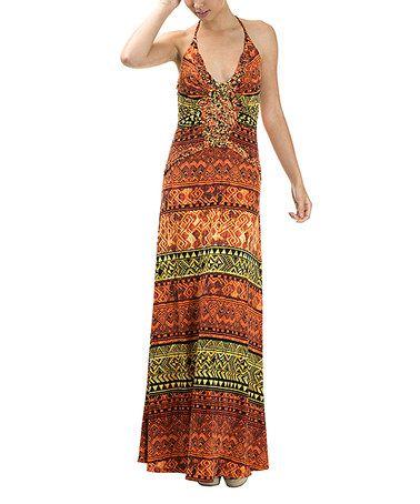 Orange Geometric Halter Maxi Dress #zulily #zulilyfinds