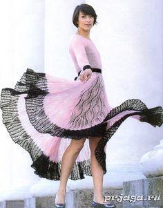 Мохеровое платье с описанием и схемами