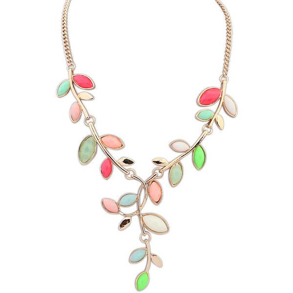Fashion Statement Necklace, Zinc Alloy, with Resin, Leaf, real gold... (12 HKD) via Polyvore featuring jewelry and necklaces