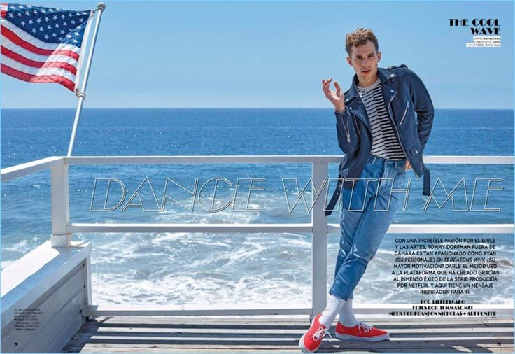 Tommy Dorfman wears a Diesel biker jacket with Barneys Cools jeans. He also sports a BDG striped tee with Vans sneakers.