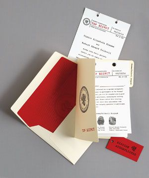 Creative Execution  Celebrate your bond by channeling James Bond. Send guests—a.k.a. special agents—a top-secret file with details of the Big Day, your fingerprints, and a briefing of weekend activities. Designs by Spark Stationery.
