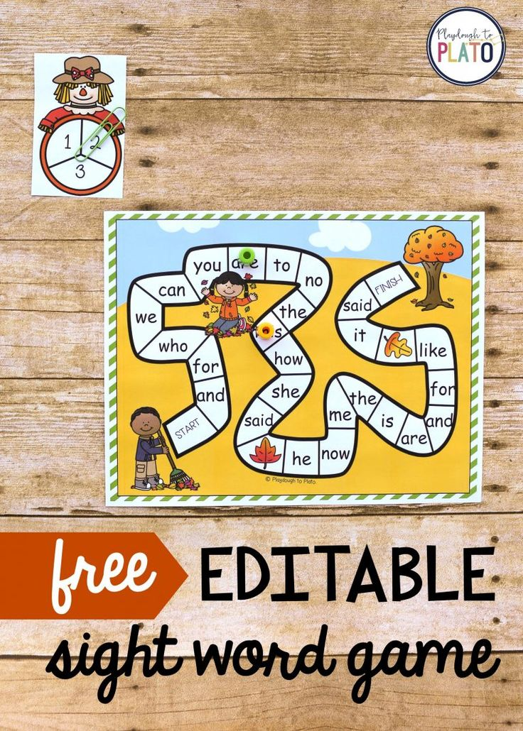 Fall Sight Word Dash!  A fun editable sight word game to celebrate fall with scarecrows and falling leaves! A perfect accompaniment to literary center, sight word review, or sight word practice with kindergarten, first grade and second grade kids!