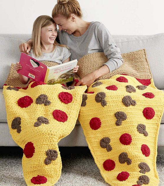 How to make a Pizza Party Snuggle Sack - crochet patterns for child and adult size