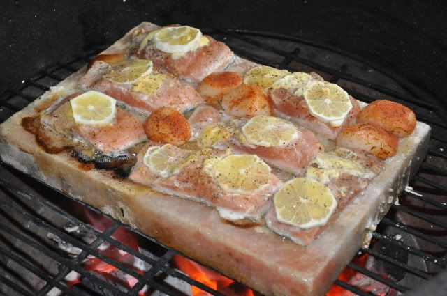 Salmon cooking on a Himalayan salt block.  I'd like to try this technique.  I've read that the taste imbued by the salt block is unparalleled.