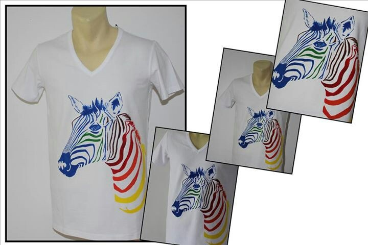 """Rainbow zebra"" hand-painted t-shirt for men"