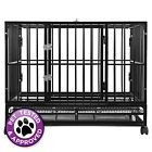 "OPEN BOX - 48"" Heavy Duty Dog Cage Crate Kennel - Black"