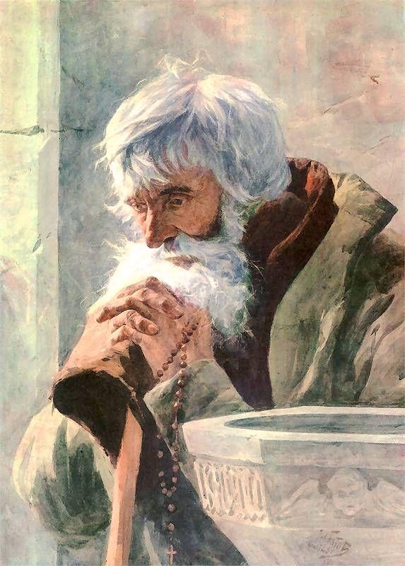 Julian Fałat - Modlący się starzec, 1881