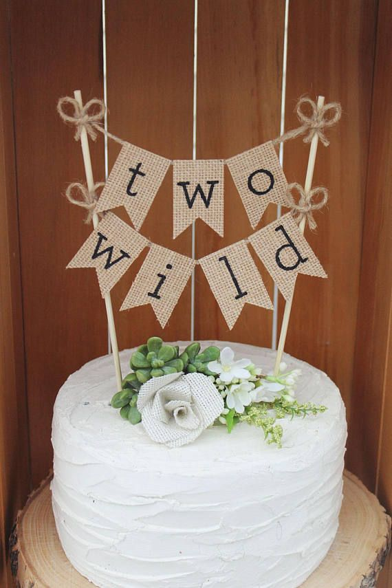 Two Wild Birthday Cake Topper Banner Second 2nd Woodland Theme