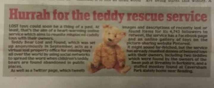 Daily Mail (newspaper) -https://www.facebook.com/TeddyBearLostAndFound/photos/a.431544563630920.1073741996.271731732945538/487450501373659