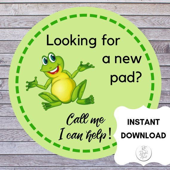 SALE! Real Estate FROG PAD Tags Printable | Pop By Gift Cards | Buyers Moving Sticker Label | Realto