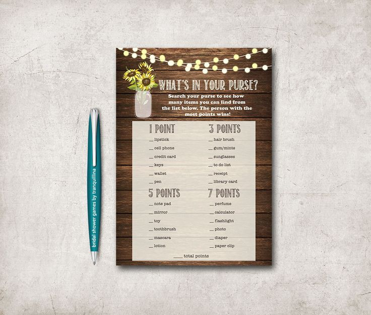 Whats in your Purse Game Printable, Digital file - Rustic Mason Jar Bridal Shower Game, Sunflower Purse Game - pinned by pin4etsy.com