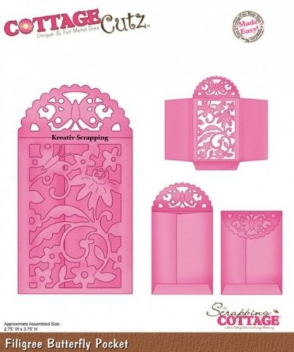 """COTTAGECUTZ - CX014 - FILIGREE BUTTERFLY POCKETDe er enkle å bruke og du får flotte detaljer til dine prosjekter.  Approximate Assembled Size:2.75""""X3.75""""COTTAGE CUTZ: Cottage Cutz Die. With design styles that are cute and adorable; fun and whimsical; and classically elegant these universal wafer-thin dies make a great addition to your paper crafting supplies. Cut amazing shapes out of paper; cardstock; adhesive-backed paper; vinyl; vellum and more. They are made ..."""