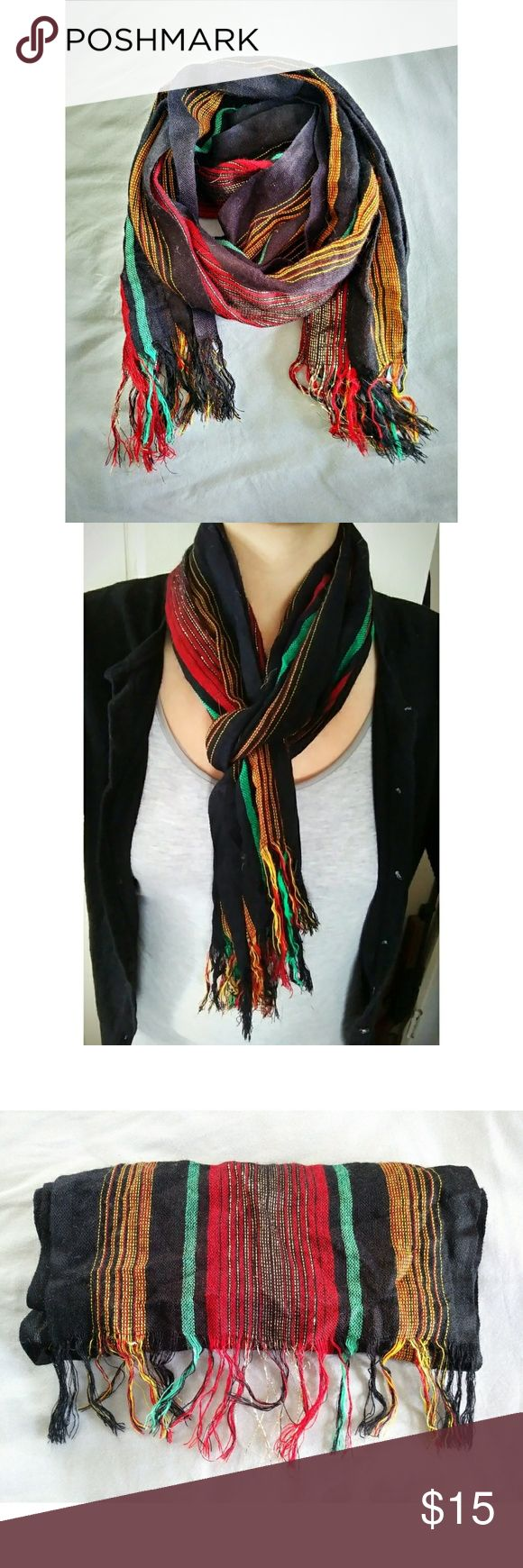 "✨ Rasta Theme Colored Light Scarf - Material: Unknown; But very light - Brand: Unknown; listed this way for visibility - Measurements (scarf folded in two; laying flat): 32"" [ w/out fringe ] - No trades - Please don't hesitate to ask any questions! - Price is reasonably negotiable! Urban Outfitters Accessories Scarves & Wraps"