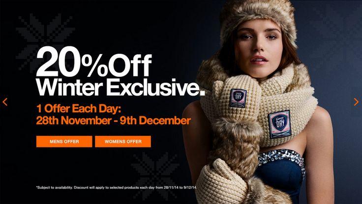 Superdry 20% off/1 offer a day web banner #Web #Banner #Digital #Online #Marketing #Offer #Discount #Fashion