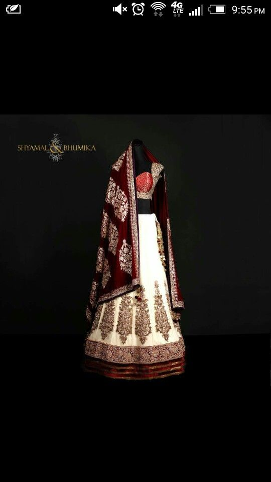 Red white and gold choli