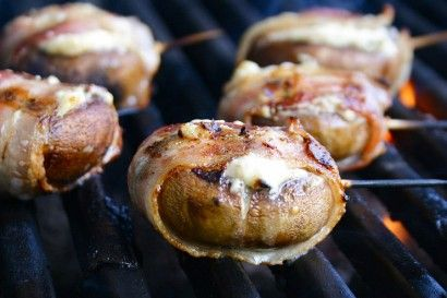 Blue Cheese filled Mushrooms wrapped in Bacon