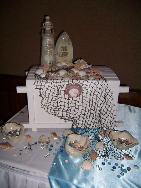 beach themed wedding card box - could make it into a treasure chest theme.
