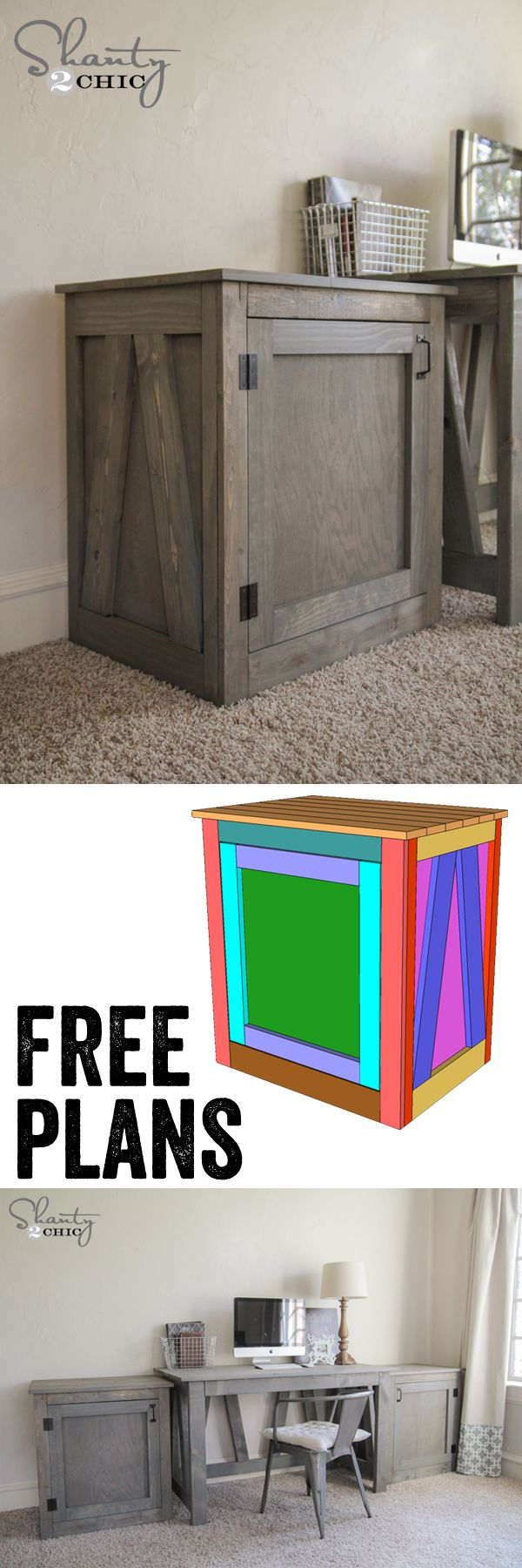 Free Woodworking Plans - DIY Desk Table and Nightstand - Great hidden storage! www.shanty-2-chic.com