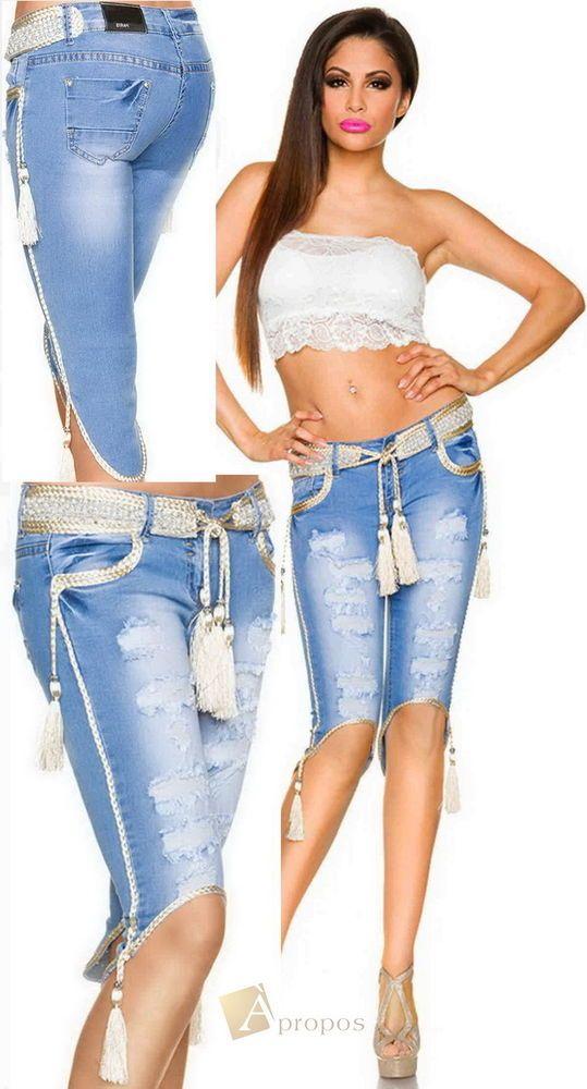Jeans Capri Bermudas Shorts Stonewashed Denim Strass Pailletten Perlen Apropos