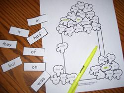 Popcorn word activity- Have the children pick a word, read it and then highlight (butter) the piece of popcorn that has the corresponding word.  You can laminate these and use a yellow dry erase marker.