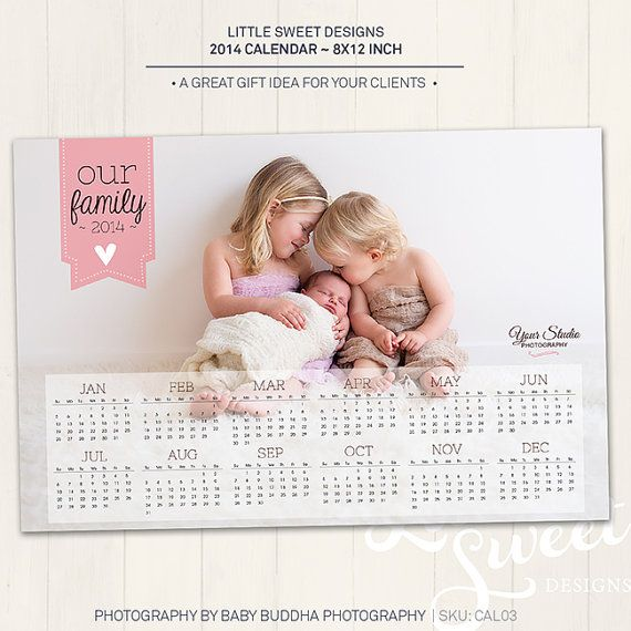2014 Calendar Photography Template 8x12' - Photoshop Template for photographers (CAL3) - INSTANT DOWNLOAD