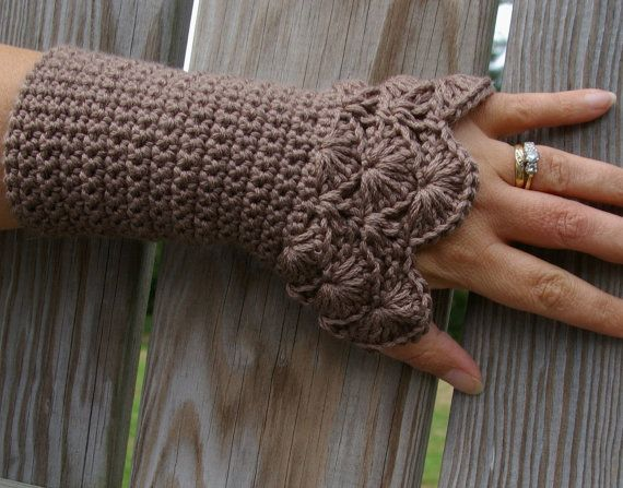 Crochet Arm warmers Fingerless Gloves Lace Arm by CandacesCloset