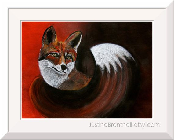 This is a print of my original pastel drawing Fox    Printed on Epson Hot Press 330gsm, 100% cotton fibre paper.