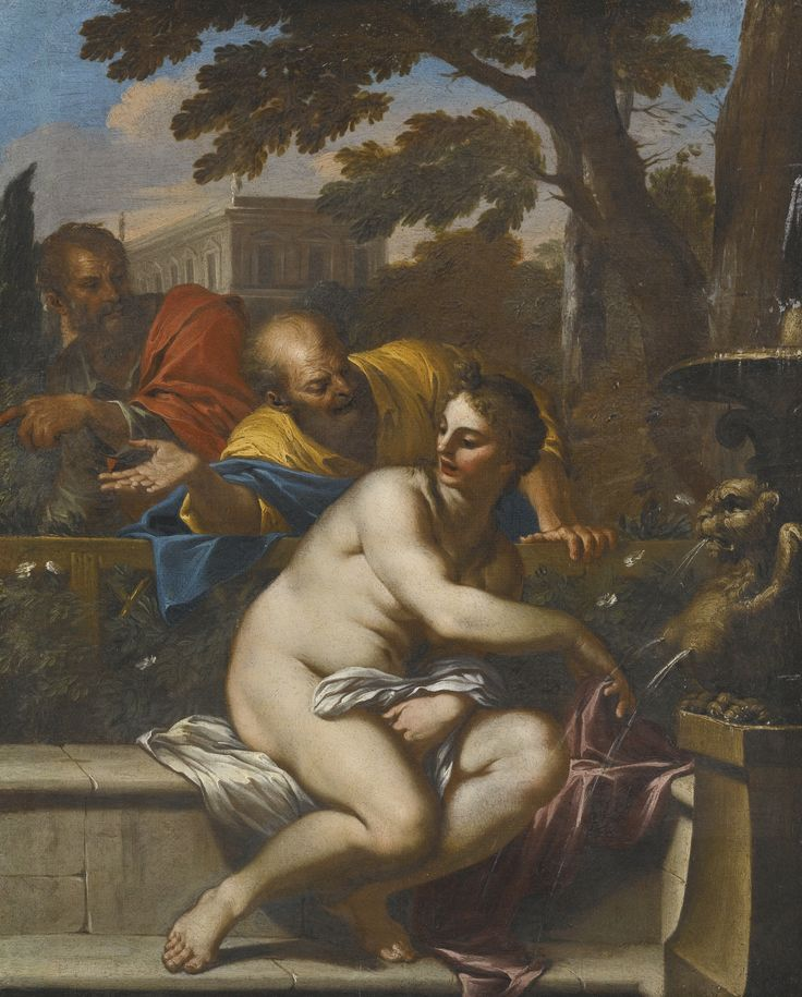 Follower of Annibale Carracci SUSANNA AND THE ELDERS oil on canvas 42.7 by 34 cm., 18 3/4  by 13 1/4  in.: