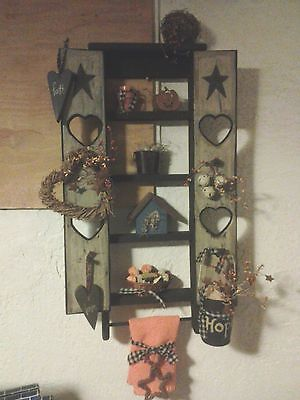 Primitive Crackle Fall Shelf Wall Gathering Hearts Stars Country Decor