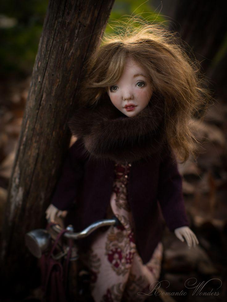 Handmade art polymer clay doll