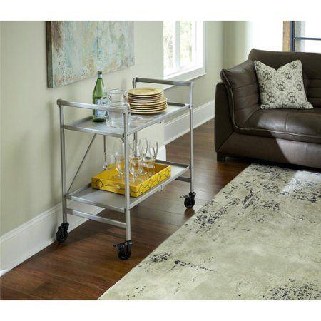 Cosco Folding Serving Cart, Multiple Colors, Silver