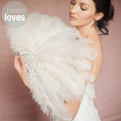 'Chia' ivory ostrich wedding feather fan
