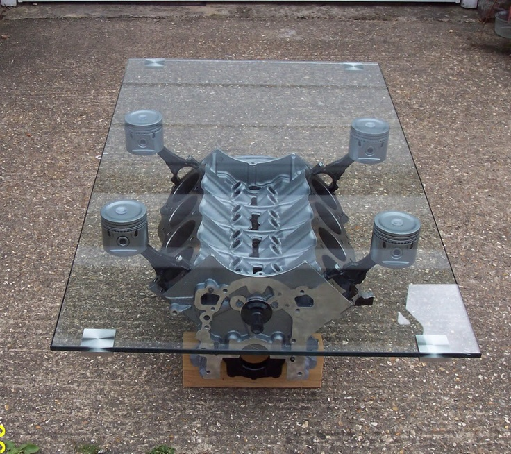 Engine block coffee table..friggin' sick!!!! ♥
