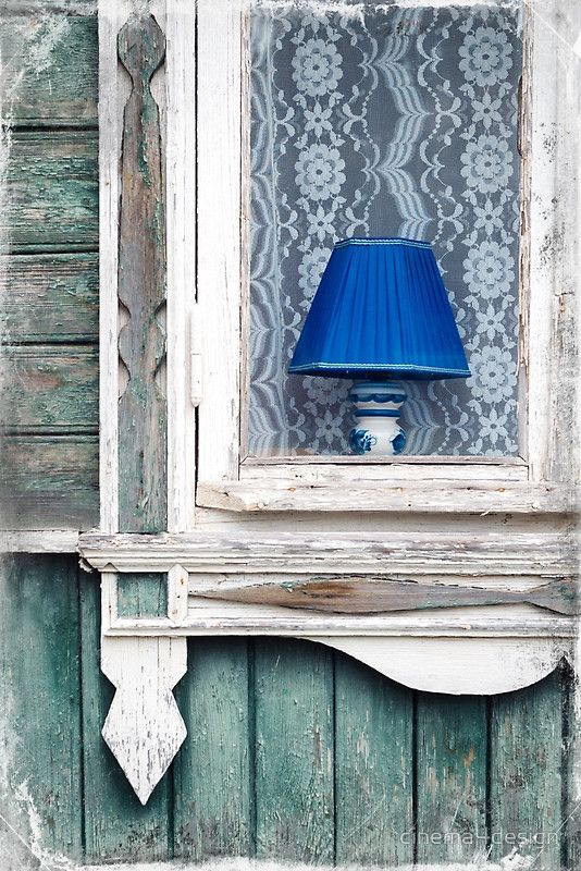 """Blue Lamp. Blue Lamp in the Window of an Old House. From """"Walls and Windows"""" photoart series. #giclee #canvas #prints"""