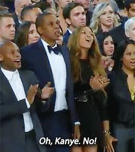 Bey, reacting to Kanye's VMA moment repeat, just one of 19 wonderful moments at the Grammys.