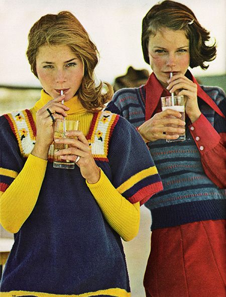 """February 1972. """"The smock is super when it hangs loose and easy. Knit one yourself in royal blue yarn with borderline stripes."""""""