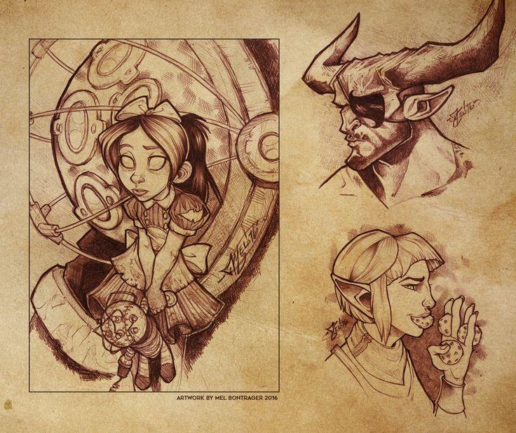 Sketchbook: Bioshock and Dragon Age Fangirling by Javadoodle.deviantart.com on @DeviantArt