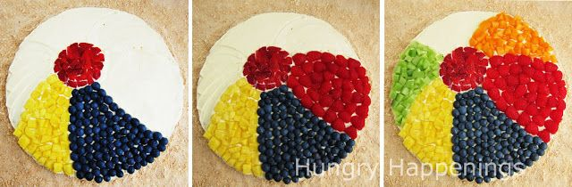 Use fresh fruit to decorate a large sugar cookie to look like a beach ball.