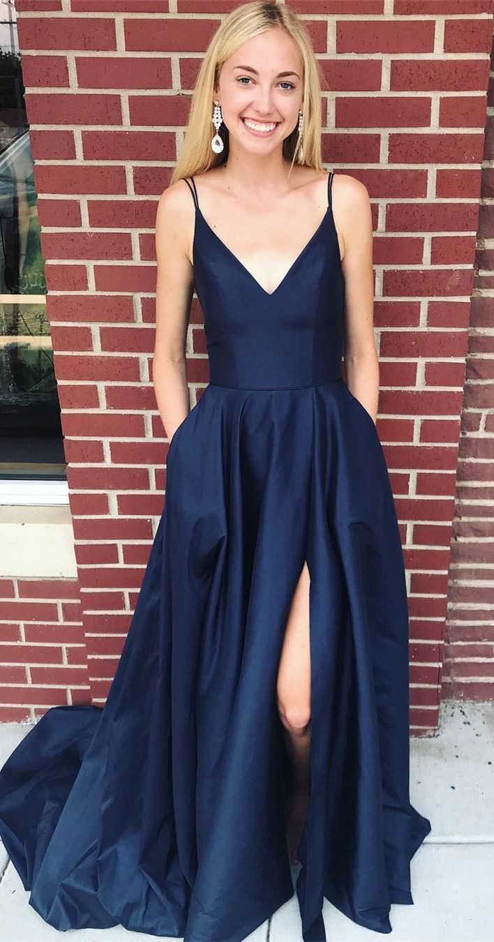 d62cc8c720e0 navy blue prom dress with pockets, 2019 prom dress, prom dress with side  slit