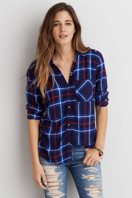 American Eagle Outfitters AEO Canyon Boyfriend Flannel # ...