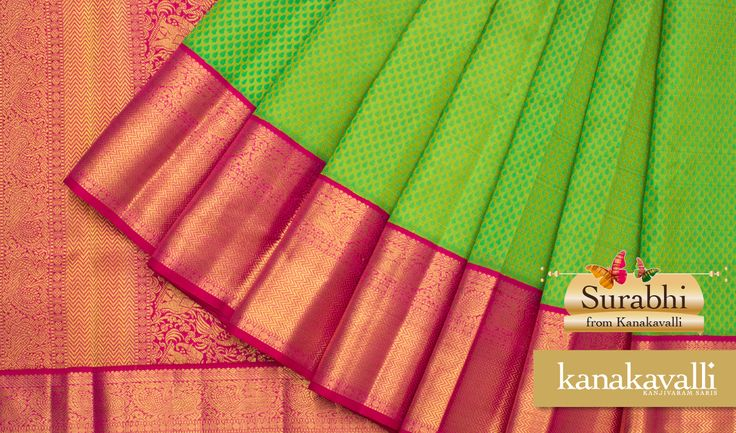 Bring some spring freshness into every room you walk into. This gorgeous parrot green Kanjivaram is a harbinger of spring joy. Adorned with a shimmering #pink border and a #paisley pallu for added elegance, this Kanakavalli sari is bound to brighten up any day.