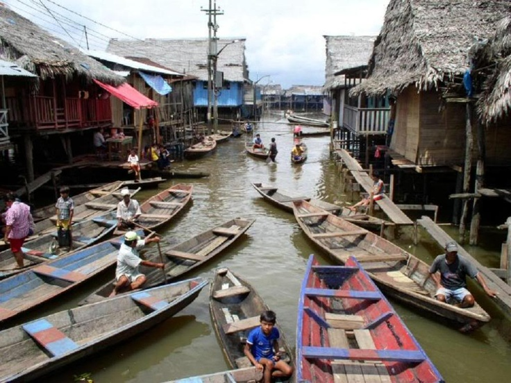 Iquitos, Peru, in the Amazon jungle. Iquitos is the largest city in the Peruvian rainforest. Located in the Amazon Basin, the city is along the Amazon, Nanay and Itaya rivers. (V)