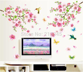 Zaterdag winkelcentrum- roze perzik bloem vlinder vogels romantische huis woonkamer decoratieve muur stickers stickers diy decor muurschildering 6717